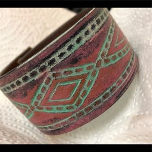 """Handmade and painted leather cuff measures 9"""""""